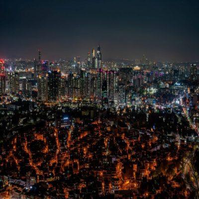 Вид на Сеул с горы Намсан Корея