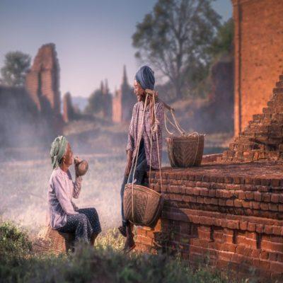 Жители Багана Мьянма