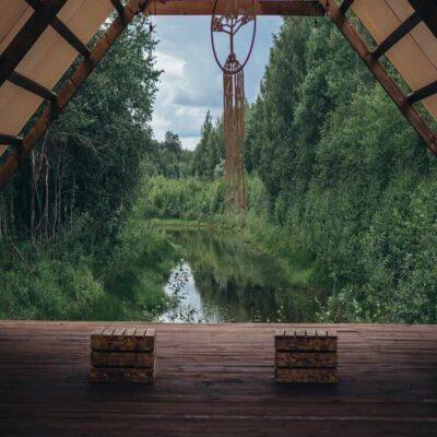 Вид из зала для йоги Карелия Россия