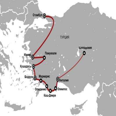 Карта Турция Автопробег октябрь