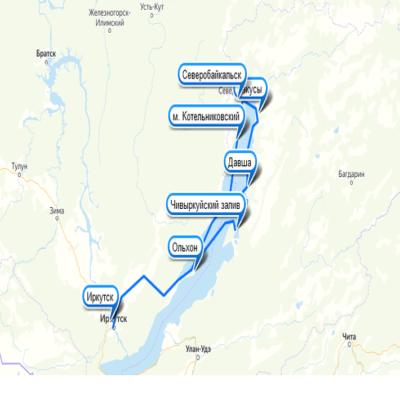 Карта Байкал Северное сияние