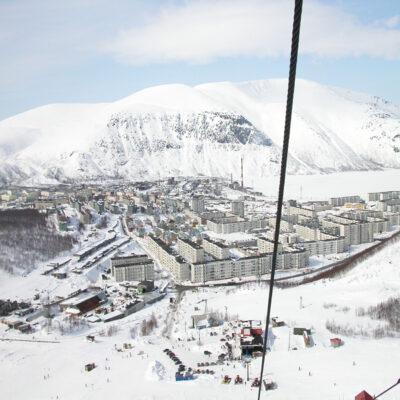 Вид на Кировск с горы Айкуайвенчорр Кольский полуостров Мурманская область