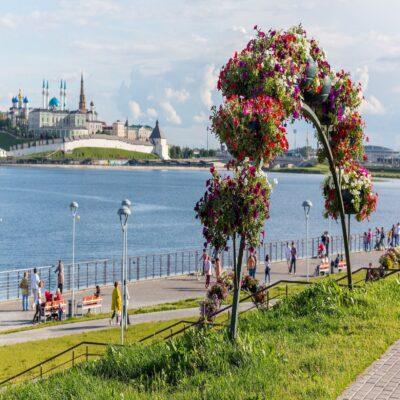 Вид на Казанский кремль с набережной Казань Татарстан